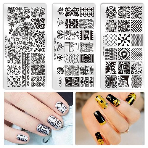 Biutee Nail Stamping Plate Nails Art Stamp Stainless Steel Templates for Nail Gel Polish Nail Art Tools Manicure