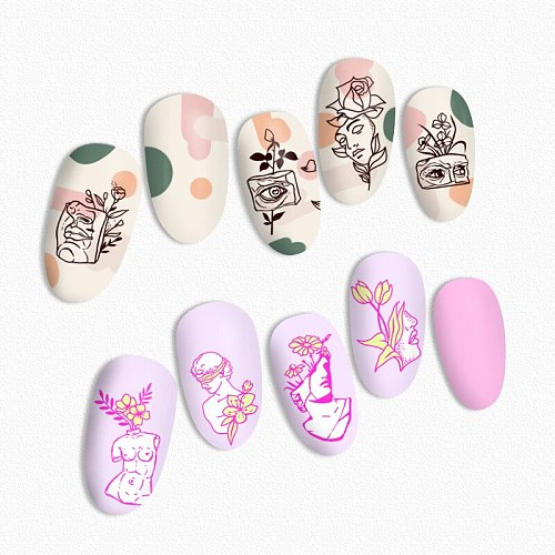 BORN PRETTY Geometric Artist Nail Stamping Plates Rectangle Nail Stamp Template Stainless Steel Nail Stencil for Printing Tools