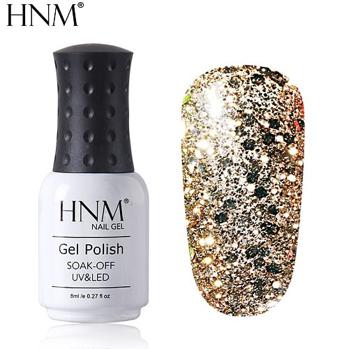 HNM Diamond Nail Gel Bling Glitter Gel Nail Polish 8ML Paint Gellak UV LED Lamp Soak Off Semi Permanent Lucky Lacquer Enamel
