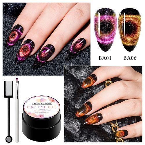 MEET ACROSS 5ml Magnetic Gel Polish Varnish Hybrid Nail For Manicure Galaxy/ Aurora Cat Eyes Soak off Enamel UV Gel Nail Polish