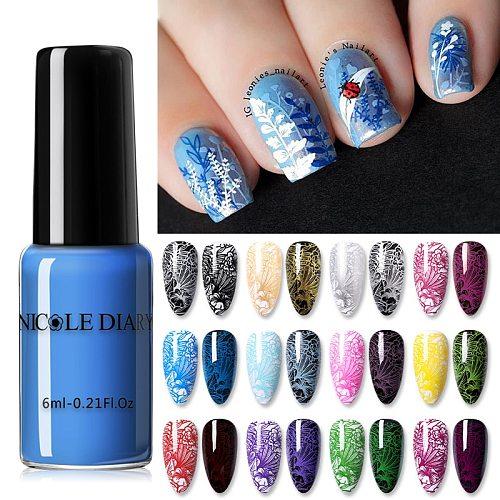 NICOLE DIARY Nail Stamping Polish Varnish Stamp Polish Nail Art Plate Printing Polish  Nail Art  for DIY Stamping Polish