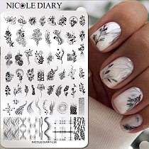 NICOLE DIARY Big Rectangle Nail Stamping Plates Flower Leaves Stamping Template Dot Point Image Printing Stencil Manicuring Tool