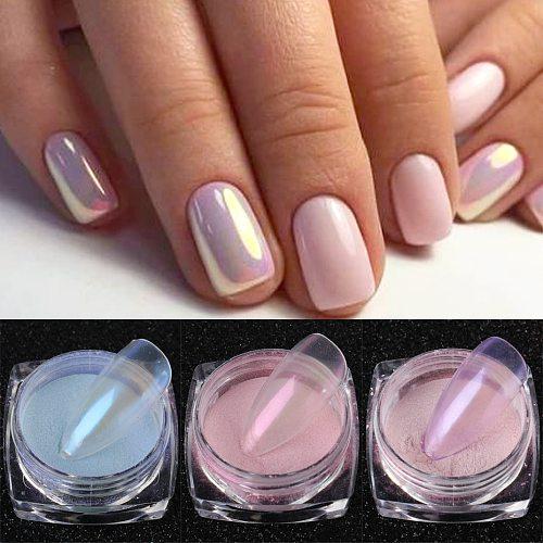 0.5g Aurora Nail Glitter Shimmer Transparent Dipping Powder Mirror Mermaid Effect Chrome Pigment Dust Manicure Decor JI1786-1