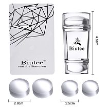 Biutee Nail Art Templates Pure Clear Jelly Silicone nail stamping plates Scraper with Stamping Gel Kit Nail Stamp Nail Art