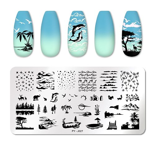 PICT YOU Animal Brird Nail Stamping Plates Flower Leaves Geometric Plate Striped Line Templates Stainless Steel Stencil Tools