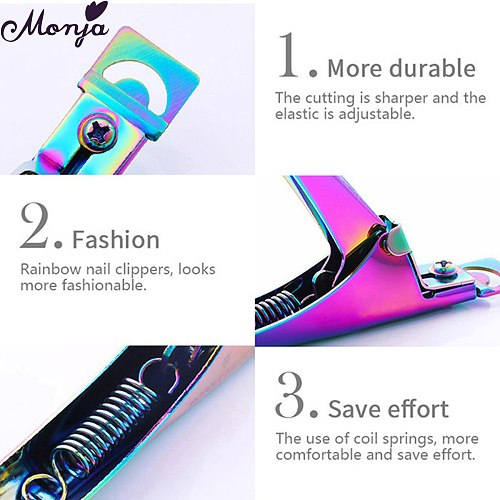 Monja 3 Colors U Word Cutting Nail Art Clippers French False Nail Tips Edge Cutters Stainless Steel Trimmers DIY Manicure Tool