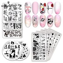 BORN PRETTY Nail Stamping Plates Love Theme Overprint Nail Stamp Nail Art Template Stencil Stainless Steel 12x6cm Nail Tools