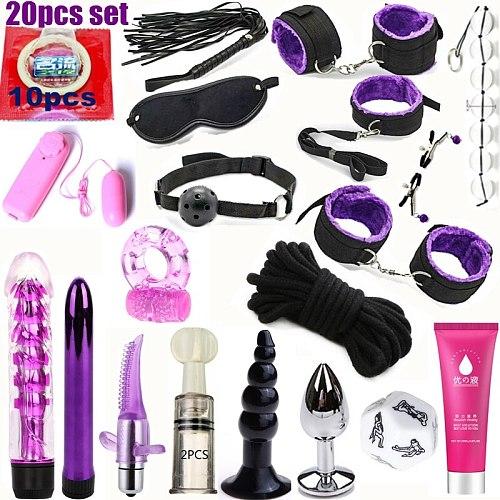 2019 adult Sex Toys For Couples Bondage Vibrators Set Nylon Restraint BDSM Slave Vibrator Plug Flirt Games Erotic Toys for Women