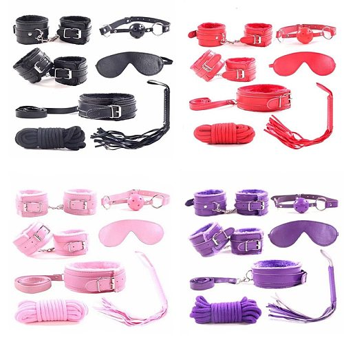7pcs/set for Woman PU Leather SM Bondage Set Sex Handcuffs Footcuffs Whip Rope Eye Mask Blindfold Erotic  Toys  Couples