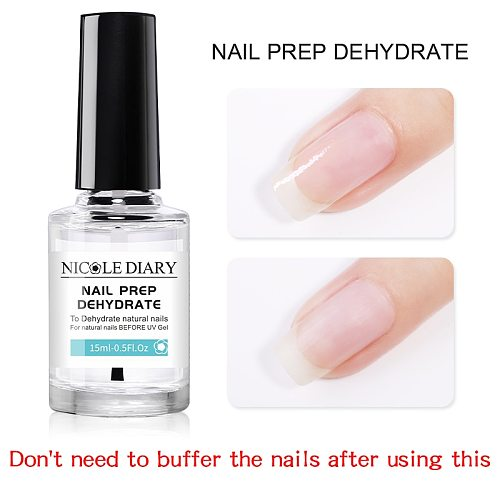 NICOLE DIARY 15ML Nail Prep Dehydrator And Nail-Primer Set Free Grinding Nail Art No Need Of UV LED Lamp Gel Nail Polish Tool