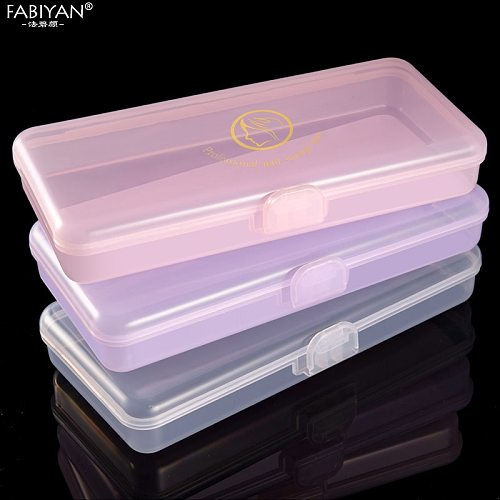 Rectangle Nail Art Storage Box Tweezers Cuticle Pusher Brushes Cleaning Cotton Pads Plastic Empty Case Manicure Container Tools