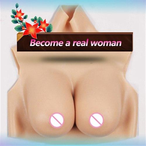 New Crossdressing Drag Queen Soft Silicone Lifelike Breast Enlargement Shoulder Girdle Realistic Fake Boobs Sex Toys For men Gay