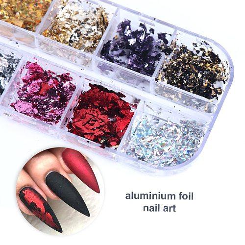 Aluminum Foil Nail Glitter Sequins Flakes Irregular Foil Paper UV Gel Polish Reflective Chrome Powder Nail Art Decor LA950-1