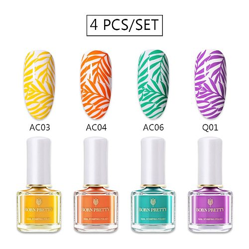 BORN PRETTY 4Pcs 6ml Stamp Nail Polish & Stamping Polish for Stamping Platte Nail varnish 48 Colors DIY Art Tools Stamp Oil