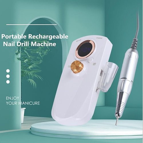 2021 Portable Rechargeable Nail Drill Machine 35000RPM Manicure Machine Electric Nail File Nail Art Tools Set for Nail Drill bit