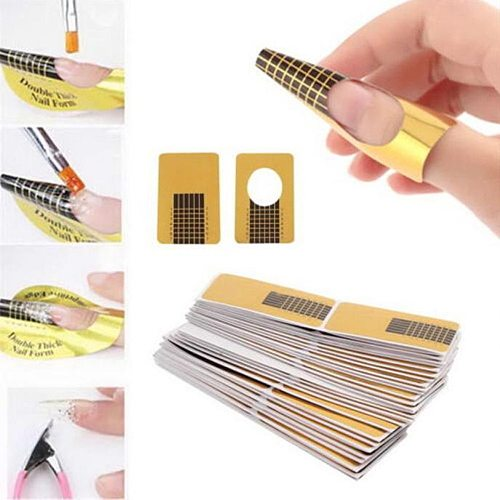 10-1000pcs Professional French Nail Form Tips Nail Art Form Acrylic Tip Gel Nails Sticker Extension Curl Form Nail Polish Guide