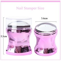 Mirror Nail Stamper Clear Silicone Head Manicure Scraper Polish Transfer Template Kits with Cap Nail Art Stamping Plate CH1033-1