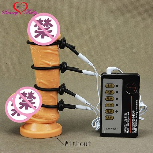 4pcs Penis Ring Electric Shock Host and Cable electro shock sex toys electro stimulation sex toys  for TENS adult game