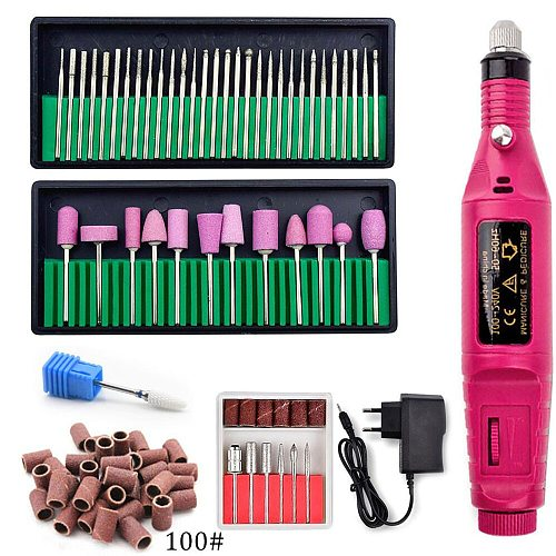 Electric Manicure Machine With Ceramic Nail Drill Bits Set Ceramic Mill Cutter Nail Art Sanding File Gel Polish Remover Cutter
