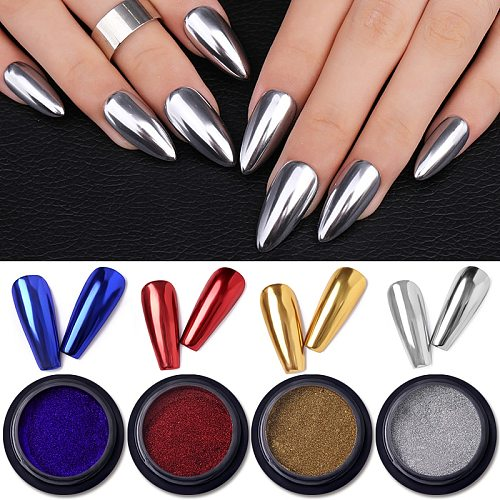 Mirror Nail Powder Colorful Gold Champagne Silver Metal Effect Nail Glitter Chrome Pigment Dust Nails Decorations DIY Manicures