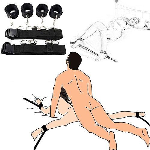 Sex Furniture Restraint Bandage Under Bed Handcuffs & Ankle Cuffs Fetish Slave Adult Sex Toys For Woman Couples Erotic Products