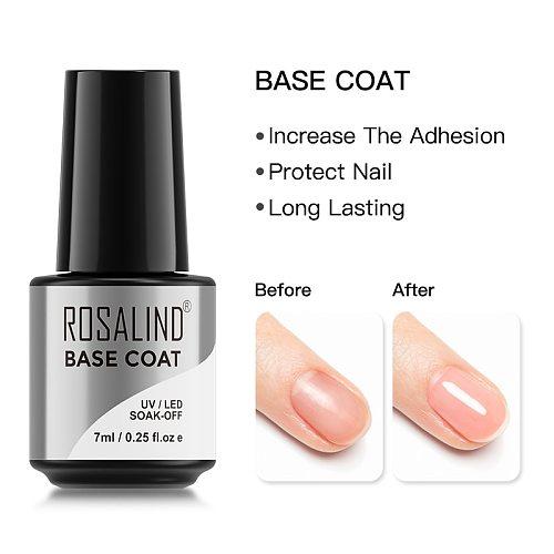 ROSALIND Base Coat 7ml Gel Nail Polish Transparent Soak Off Nail Primer UV LED Lamp Semi Permanent Gel Varnish For Nail Art