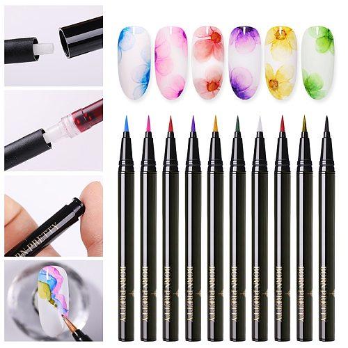 BORN PRETTY Water Color Nail Polish Pen Nail Art Polish Nails Painting Pen Blossoming Beauty 1ml 12 Colours Nail Art Design