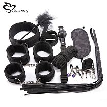 10Pcs BDSM Sex Kits Sex Products Erotic Toys for Adults Bondage Set Handcuffs Nipple Clamps Gag Whip Rope Sex Toys For Couples