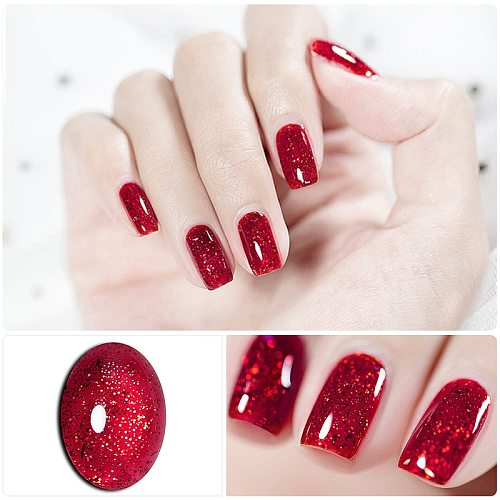 HNUIX 7ml UV Gel nail polish Red glitter glitter soak UV Gel color varnish nail polish DIY varnish Nail art Gel lacquer