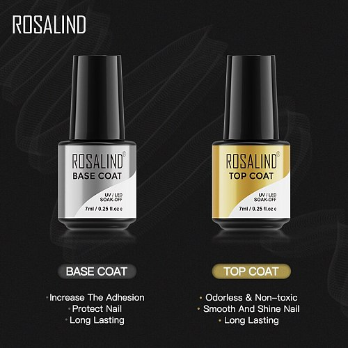 ROSALIND Top Base Coat Gel Polish UV Soak off Reinforce 7ml vernis Semi Permanent Nail Art Manicure Gel Varnish Primer base coat