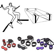 Handcuffs Bondage Erotic Under Bed Sex Bondage Restraint System Games for Adults Wrists Ankle Cuffs Sexy Lingerie Set Furniture