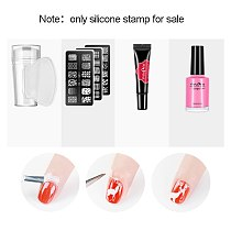 Pure Clear Jelly Silicone Nail Stamping Silicone Nail Art Templates Plate Scraper With Cap Art Stamper Scraper Makeup Tools
