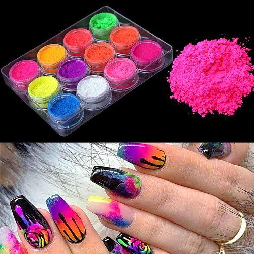 Neon Nail Powder Pigment Set Fluorenscence Spangle Nail Glitter Make Up Shimmer Shining Chrome Dust Decoration