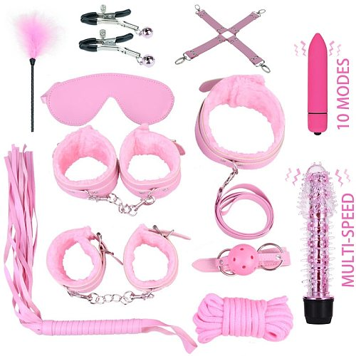 Sex Toys for Couples Woman Handcuffs Whip Nipples Clip Blindfold Mouth Gag BDSM Bondage Kit Flirt Erotic Toy Adult Games Shop