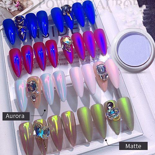 1g/box Transparent Holo Nail Glitter Mirror Aurora Neon Powders Dust Chameleon Nail Art Chrome Pigment Dipping Powder Decoration
