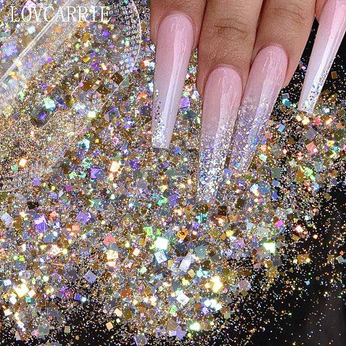 1 Bag Glitter Nail Art Sequins Holographic Rectangle Mix Shape Hexagon Manicure Nails Art Decorations Makeup Face Powder Flakes