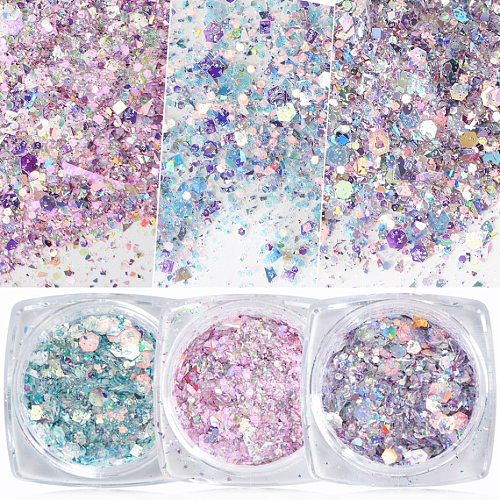 1 Box Nail Mermaid Glitter Flakes Sparkly 3D Hexagon Colorful Sequins Spangles Polish Manicure Nails Art Decorations TRDJ01-12