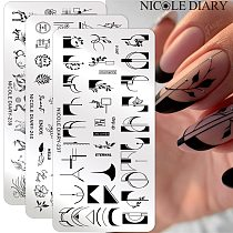 NICOLE DIARY Flower French Line Pattern Nail Stamping Plates Geometric Leaf Floral Nail Art Stamp Stencil Printing Template