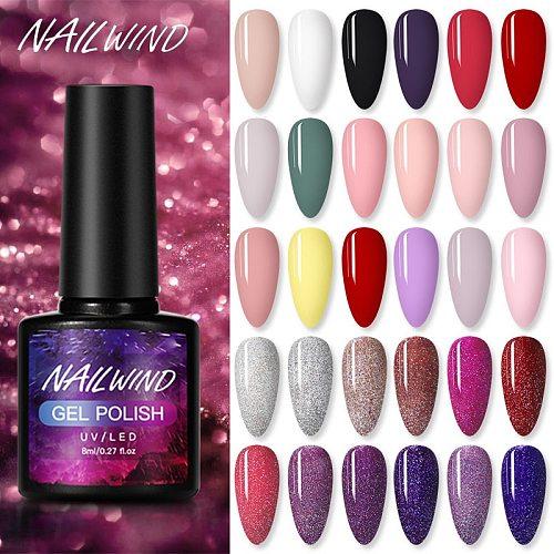 NAILWIND Nail Polish Hybrid Varnish 8ml Manicure Art Semi Permanent Need UV LED Nail Need Base Top Coat Gel Nail Polish