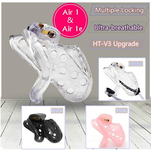 2019 New Air 1 Super Breathable Male Chastity Cage With Electric Shock Device and Multiple Locks