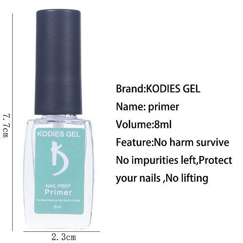 KODIES GEL 2 PCS/Set Primer Dehydrator Prep Base Coat for Nails UV Gel Polish Ultrabond Bonder Gellak Long Lasting 8ML Nailart
