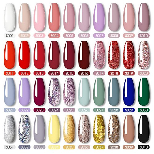 ROSALIND Nail Polish Red Yellow Series Gel Varnishes All For Manicure Nails Art Base Top Coat UV Semi Permanent Nail Gellak