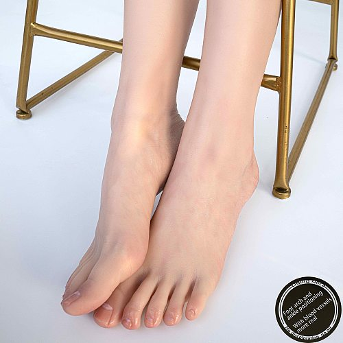 Sexy Foot Model Adult Female Shooting Props Foot Fetish Simulation Liquid Silicone soft soles  bare toes ZISHINE TGJ40