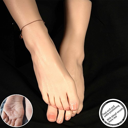 Blood Vessels Mannequin Female Foot Model Liquid Silicone Exhibition Plantar wrinkles Drawing Reflexology Practice TG3816