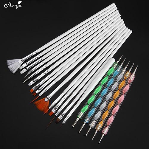 Monja 20Pcs/Set Nail Art Acrylic UV Gel Extension Builder Painting Pattern DIY Drawing Rhinestone Bead Dotting Picking Brush Kit