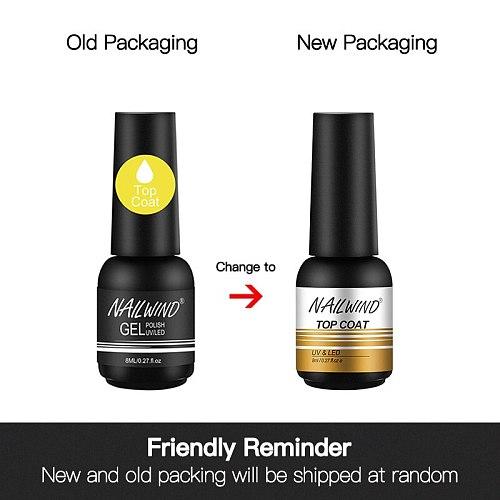 NAILWIND Top Base Coat 2PCS/Set UV Gel Nail Polish Shiny Manicure Set 8ml Soak off Top Base Nail Primer