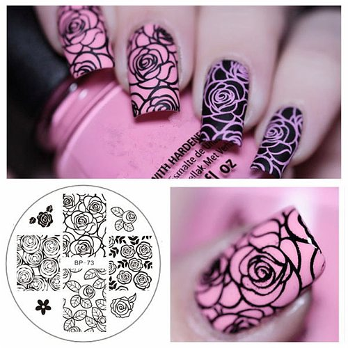 BORN PRETTY Square Nail Art Stamp Template Flower Vine Rose Leaves Floral Image Pattern Printing Plate for  Stencil 6cm