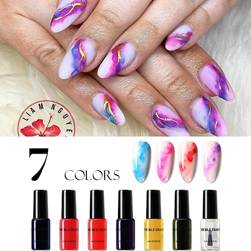 NICOLE DIARY 1 Bottle Colorful Watercolor Ink Nail Polish Blooming DIY Nail Gel Decoration Salon Smoke Effect Bubble Varnish