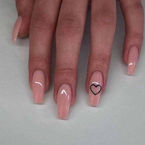 24Pcs Middle Length Ballerina Nude Pink Color False Nails Design With Heart Pattern Artificial Fake Nails With Glue DIY Manicure