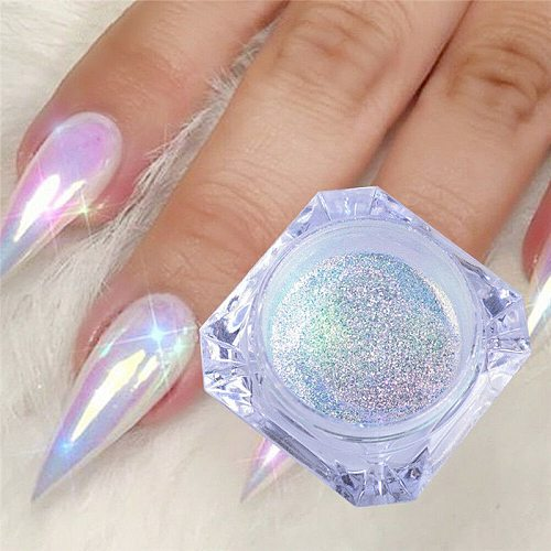 0.2g Glitter Unicorn Mirror Nail Powder Ultra-thin Aurora Mermaid Chrome Pigment Holographic Powder Crystal Nail Art  Dehydrator
